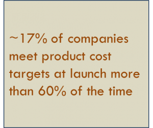 Percent meeting product cost summary Hiller Associates